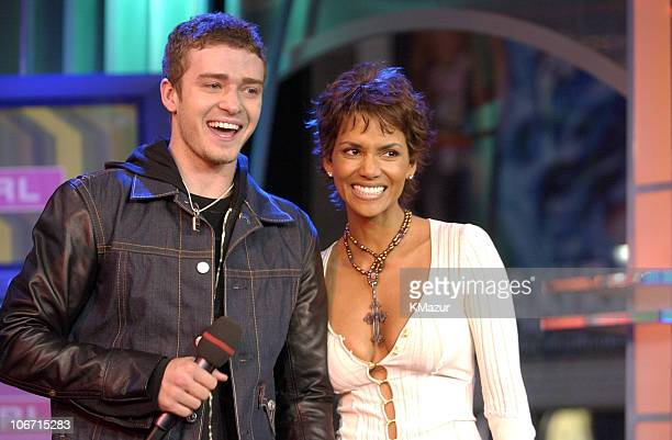 Justin Timberlake and Halle Berry during 'Spankin' New Music Week' with Justin Timberlake Jennifer Lopez and Halle Berry on MTV's 'TRL' November 5...