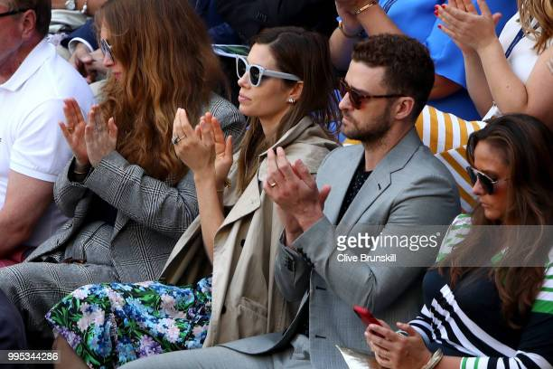 Justin Timberlake and his wife Jessica Biel attend day eight of the Wimbledon Lawn Tennis Championships at All England Lawn Tennis and Croquet Club...