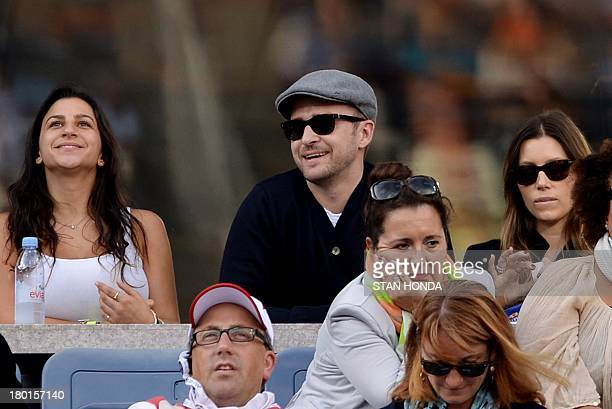 Justin Timberlake and his wife Jessica Biel watch Novak Djokovic of Serbia play Rafael Nadal of Spain during their 2013 US Open men's singles final...