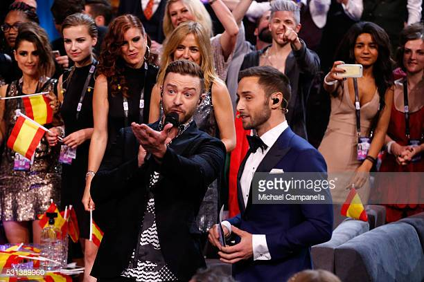 Justin Timberlake and host Mans Zelmerlow are seen at the Ericsson Globe on May 14 2016 in Stockholm Sweden