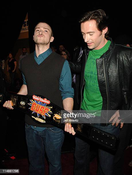 Justin Timberlake and Hugh Jackman during Nickelodeon's 19th Annual Kids' Choice Awards - Backstage and Audience at Pauley Pavillion in Westwood,...