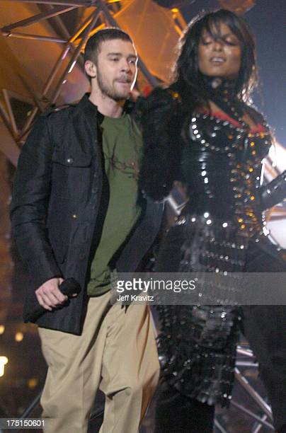 Justin Timberlake and Janet Jackson during Super Bowl XXXVIII Halftime Show at Reliant Stadium in Houston Texas United States