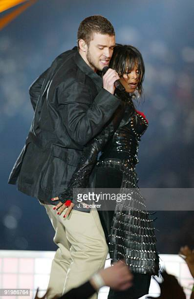 Justin Timberlake and Janet Jackson perform during the half time show at Super Bowl XXXVIII