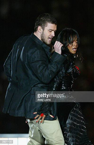 Justin Timberlake and Janet Jackson perform during the halftime show at Super Bowl XXXVIII between the New England Patriots and the Carolina Panthers...