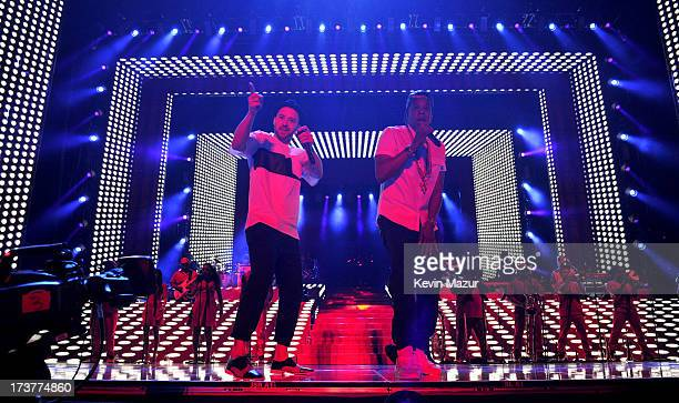 Justin Timberlake and JayZ perform during the Legends of the Summer tour at Rogers Centre on July 17 2013 in Toronto Canada
