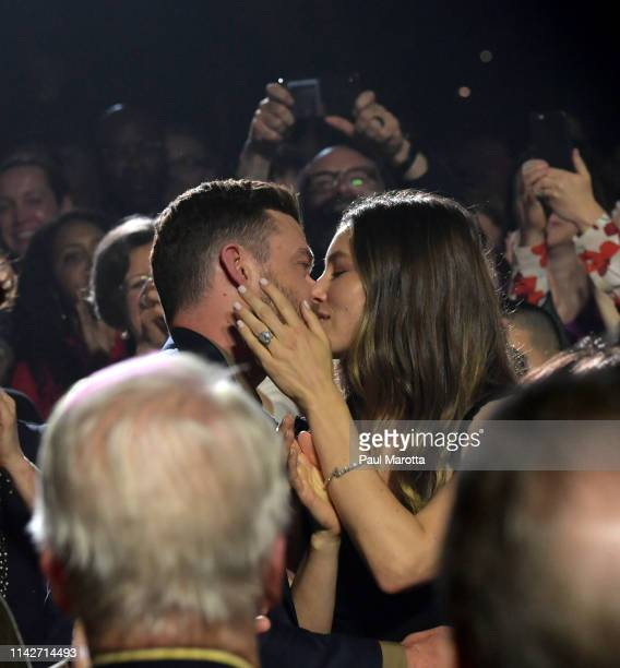 Justin Timberlake and Jessica Biel are seen at the annual Berklee College of Music Commencement concert at Agganis Arena at Boston University on May...