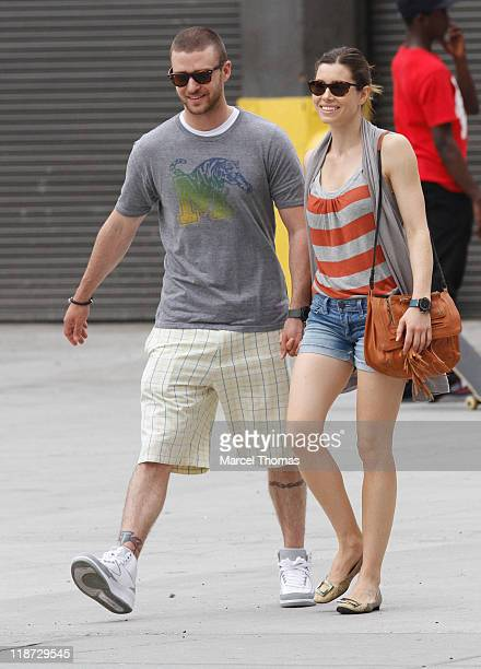 Justin Timberlake and Jessica Biel are seen on the streets of Manhattan on May 2 2010 in New York New York