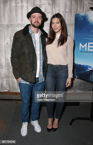 Justin Timberlake and Jessica Biel attend a Celebration of MERU Screening And Reception at RED Studios on December 16 2015 in Los Angeles California