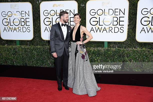 Justin Timberlake and Jessica Biel attend the 74th Annual Golden Globe Awards at The Beverly Hilton Hotel on January 8 2017 in Beverly Hills...
