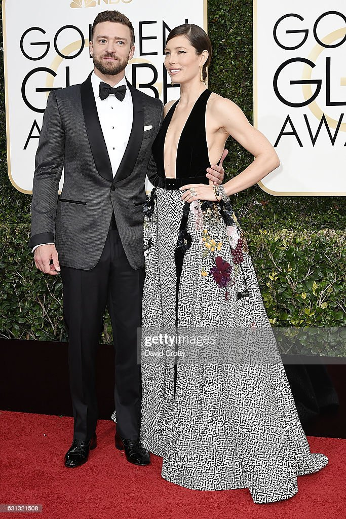 Justin Timberlake and Jessica Biel attend the 74th Annual Golden Globe Awards - Arrivals at The Beverly Hilton Hotel on January 8, 2017 in Beverly Hills, California.