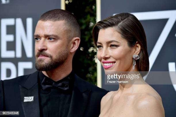 Justin Timberlake and Jessica Biel attend The 75th Annual Golden Globe Awards at The Beverly Hilton Hotel on January 7 2018 in Beverly Hills...