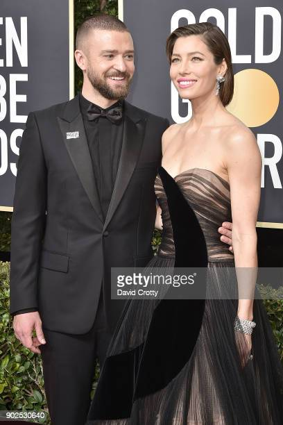Justin Timberlake and Jessica Biel attend the 75th Annual Golden Globe Awards Arrivals at The Beverly Hilton Hotel on January 7 2018 in Beverly Hills...