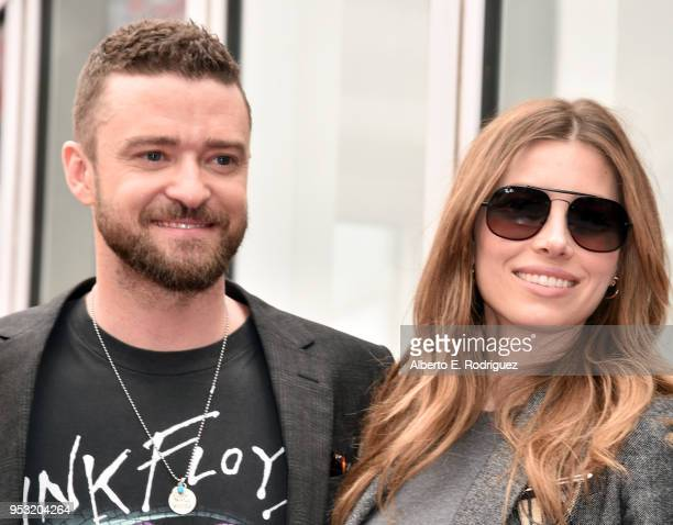 Justin Timberlake and Jessica Biel attend the ceremony honoring NSYNC with a star on the Hollywood Walk of Fame on April 30 2018 in Hollywood...