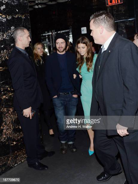 Justin Timberlake and Jessica Biel attend the Film District and Chrysler with The Cinema Society premiere of Playing For Keeps after party at Dream...