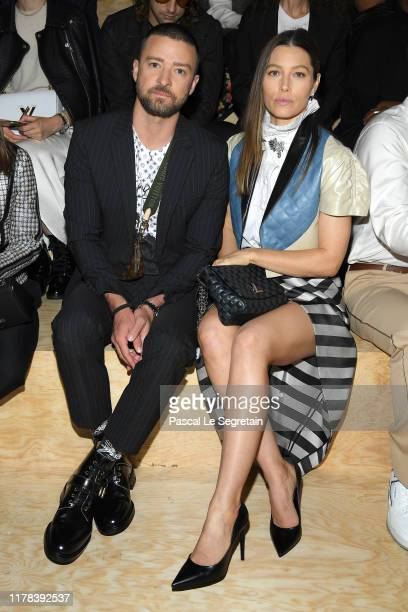 Justin Timberlake and Jessica Biel attend the Louis Vuitton Womenswear Spring/Summer 2020 show as part of Paris Fashion Week on October 01, 2019 in...