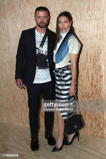 Justin Timberlake and Jessica Biel attend the Louis Vuitton Womenswear Spring/Summer 2020 show as part of Paris Fashion Week on October 01 2019 in...