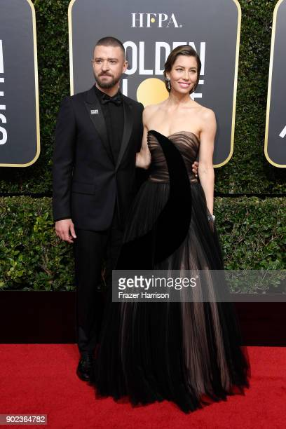 Justin Timberlake and Jessica Biel attends The 75th Annual Golden Globe Awards at The Beverly Hilton Hotel on January 7 2018 in Beverly Hills...
