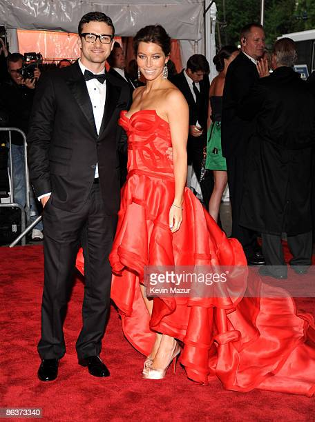 Justin Timberlake and Jessica Biel attends The Model as Muse Embodying Fashion Costume Institute Gala at The Metropolitan Museum of Art on May 4 2009...