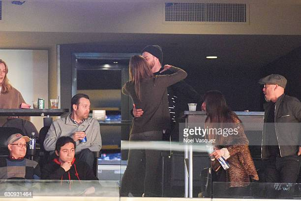 Justin Timberlake and Jessica Biel kiss at a basketball game between the Memphis Grizzlies and the Los Angeles Lakers at Staples Center on January 3...