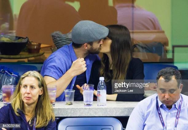 Justin Timberlake and Jessica Biel kiss while attending the 2017 US Open Tennis Championships Federer vs Lopez at Arthur Ashe Stadium on September 2...