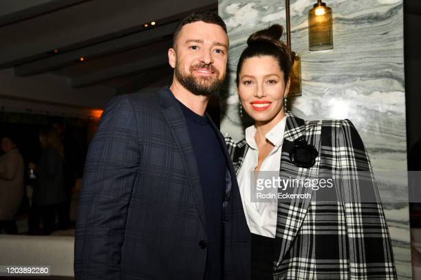 Justin Timberlake and Jessica Biel pose for portrait at the Premiere of USA Network's The Sinner Season 3 on February 03 2020 in West Hollywood...