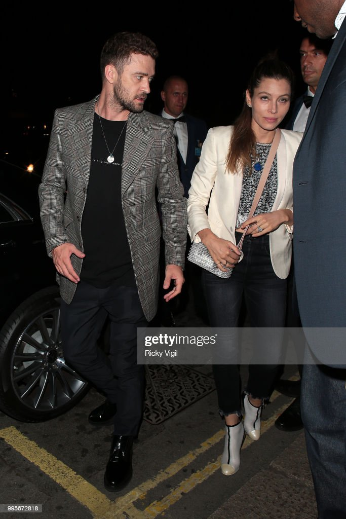 Justin Timberlake and Jessica Biel seen attending Drake's party at Annabel's on July 10, 2018 in London, England.