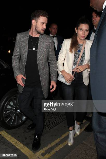 Justin Timberlake and Jessica Biel seen attending Drake's party at Annabel's on July 10 2018 in London England