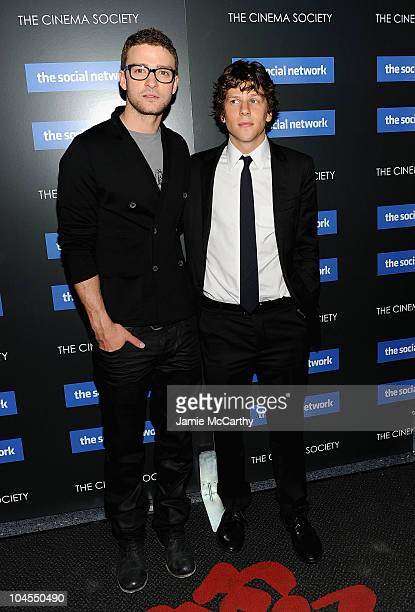 """Justin Timberlake and Jessie Eisenberg attend Columbia Pictures' and The Cinema Society's screening of """"The Social Network"""" at the School of Visual..."""
