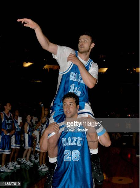 Justin Timberlake and Joey Fatone during *NSYNC's Challenge for the Children VI Day 3 Basketball Game at Office Depot Center in Sunrise Florida...