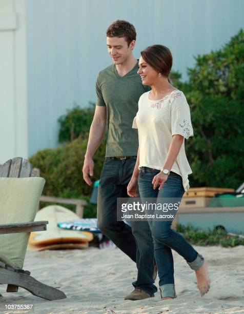 Justin Timberlake and Mila Kunis are seen on location for Friends With Benefits in Malibu on August 31 2010 in Los Angeles California
