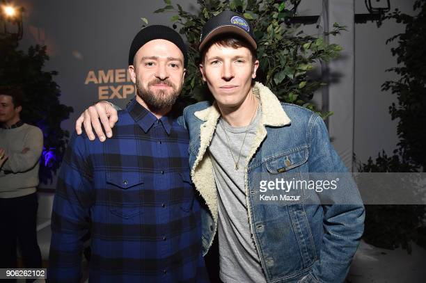 Justin Timberlake and Ryan McGinley attend American Express x Justin Timberlake 'Man Of The Woods' listening session at Skylight Clarkson Sq on...