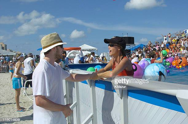 Justin Timberlake and Shannon Elizabeth during *NSYNC's Challenge for the Children VI Day 2 Skills Challenge at Miami Beach in Miami Florida United...