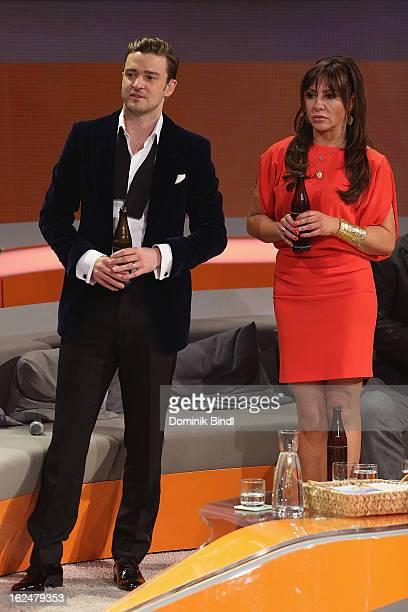 Justin Timberlake and Simone Thomalla attend 'Wetten dass' from Friedrichshafen on February 23 2013 in Friedrichshafen Germany