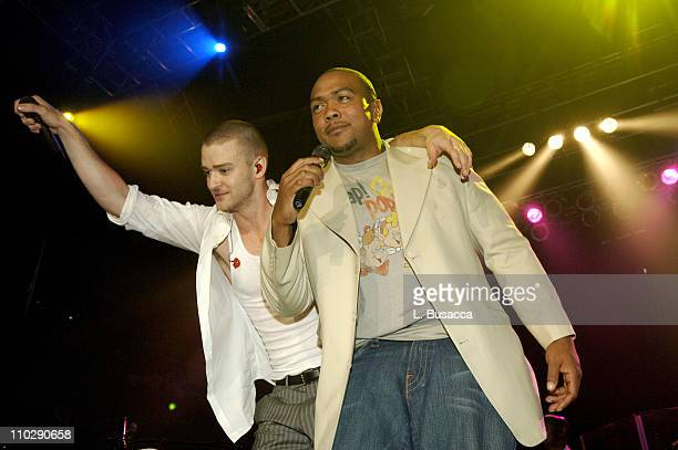 Justin Timberlake and Timbaland during Justin Timberlake Post MTV Video Music Award Concert Previewing His new Album Release Futuresex/Lovesounds...