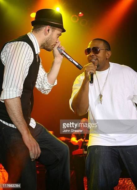 Justin Timberlake and Timbaland during Verizon Wireless / Rolling Stone PreGRAMMY Party Inside at Avalon in Los Angeles California United States