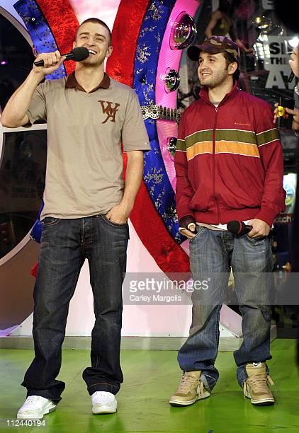 "Justin Timberlake and Trace Ayala during Justin Timberlake, Trace Ayala and Ludacris Visit MTV's ""TRL"" - November 2, 2005 at MTV Studios in New York..."