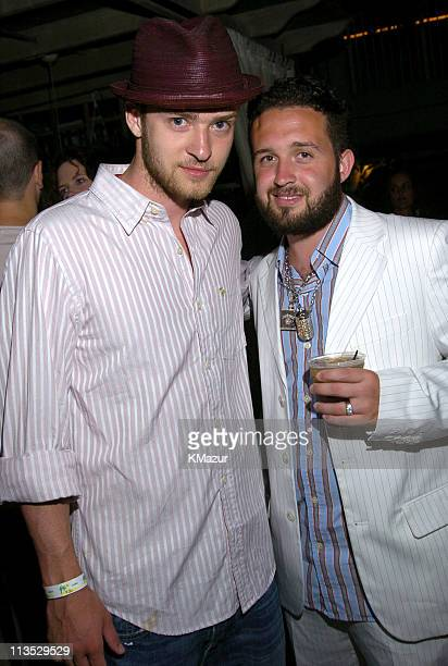 Justin Timberlake and Trace Ayala during *NSYNC's Challenge for the Children VI Day 2 Nikki Beach Party at Nikki Beach in Miami Beach Florida United...