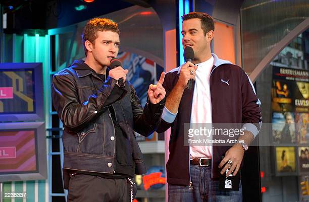 Justin Timberlake and TRL host Carson Daly on MTV's Spankin New Music Week on TRL at the MTV Times Square Studios in New York City, November 5, 2002....
