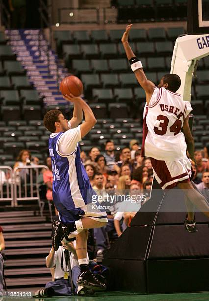 Justin Timberlake and Usher during *NSYNC's Challenge for the Children VI Day 3 Basketball Game at Office Depot Center in Sunrise Florida United...