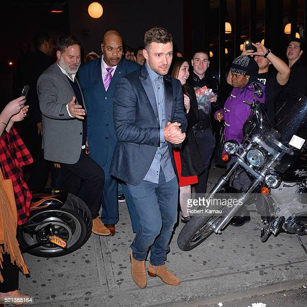 Justin Timberlake and wife Jessica Biel seen at The Avenue Nightclub for a Tribeca Film Festival afterparty on April 14 2016 in New York City