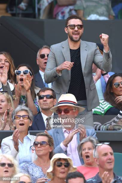 Justin Timberlake applauds a shot played by Serena Williams of the United States during her Ladies' Singles QuarterFinals match against Camila Giorgi...