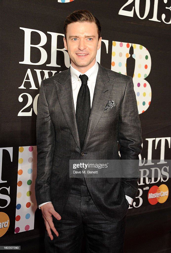 Justin Timberlake arrives at the BRIT Awards 2013 at the O2 Arena on February 20, 2013 in London, England.