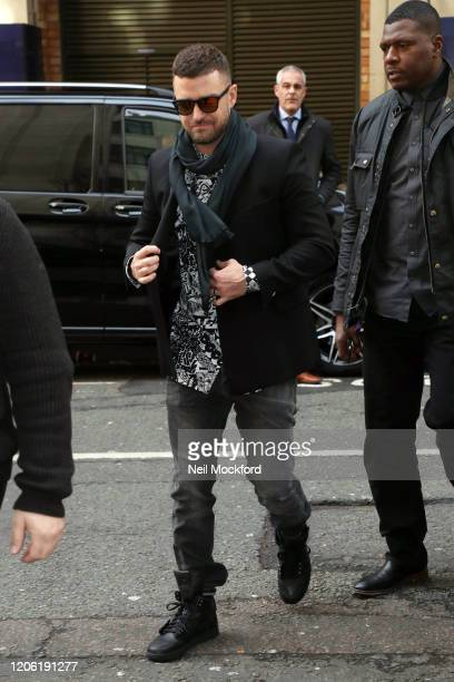Justin Timberlake arriving at BBC Radio 2 on February 14 2020 in London England
