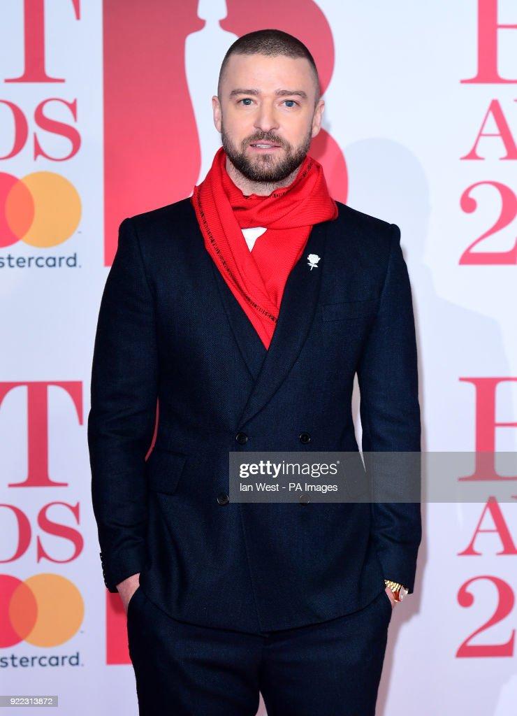 Justin Timberlake attending the Brit Awards at the O2 Arena, London.