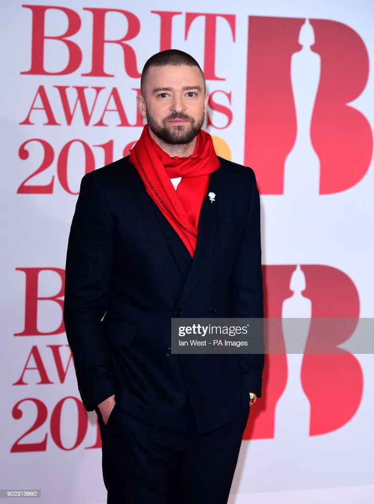 Justin Timberlake attending the Brit Awards at the O2 Arena, London.