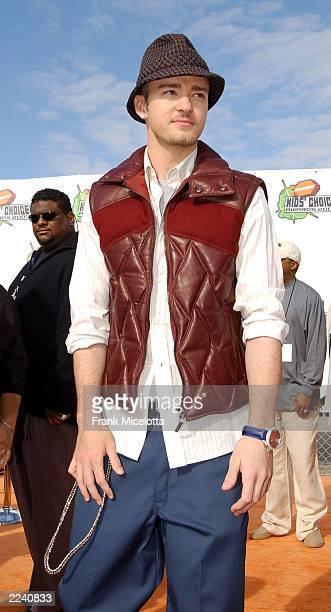 Justin Timberlake attends at Nickelodeon's 16th Annual Kid's Choice Awards at the Barker Hangar April 12 2003 in Santa Monica California