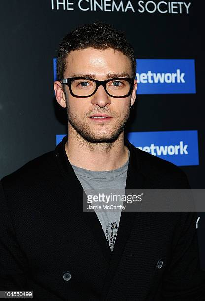 """Justin Timberlake attends Columbia Pictures' and The Cinema Society's screening of """"The Social Network"""" at the School of Visual Arts Theater on..."""