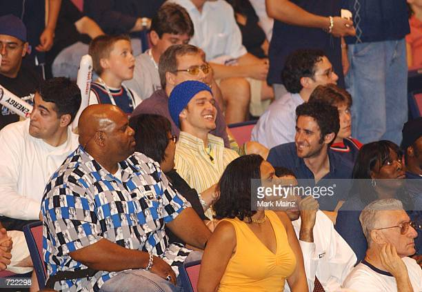 Justin Timberlake attends game 4 of the 2002 NBA Finals between the New Jersey Nets and the Los Angeles Lakers on June 12 2002 at the Continental...
