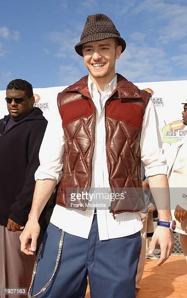 Justin Timberlake attends Nickelodeon's 16th Annual Kid's Choice Awards at the Barker Hangar April 12 2003 in Santa Monica California