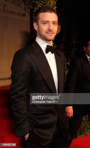 Justin Timberlake attends the 2011 Vanity Fair Oscar Party Hosted by Graydon Carter at the Sunset Tower Hotel on February 27 2011 in West Hollywood...